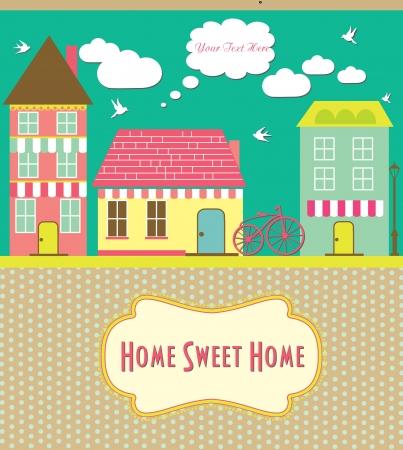sweet shop: home sweet home tarjeta de ilustraci?n vectorial Vectores