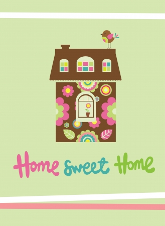 sweet love: home sweet home card  vector illustration