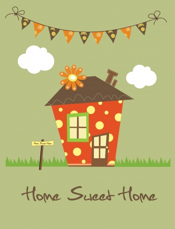 old home: home sweet home card  vector illustration