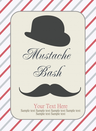 card with mustache  illustration Vector