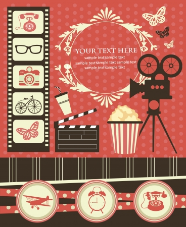 vintage objects scrapbook collection illustration Vector