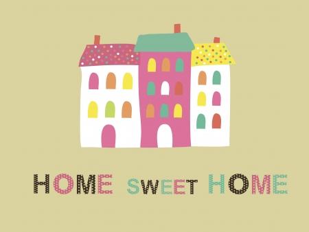 sweet home: home sweet home tarjeta de ilustraci�n vectorial
