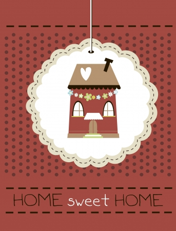 cottage house: home sweet home card  illustration