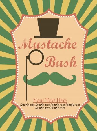 bash: card with mustache  illustration Illustration