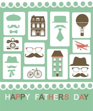 bash: mustache party card illustration