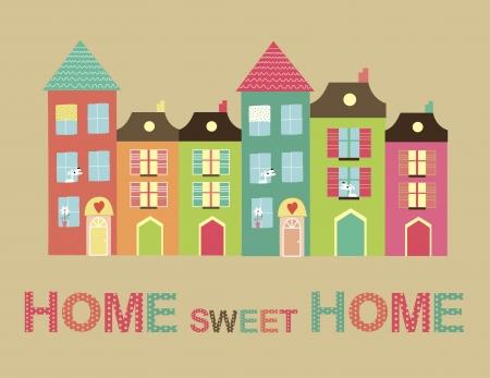 encantador: home sweet ilustração do cartão casa