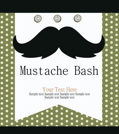 mustache party card  illustration Vector