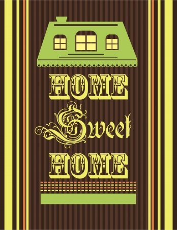 warm house: home sweet home card illustration