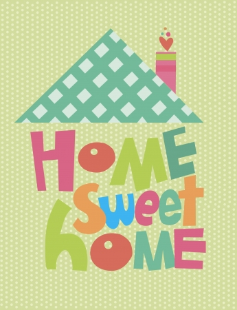 cute house: home sweet home card  illustration