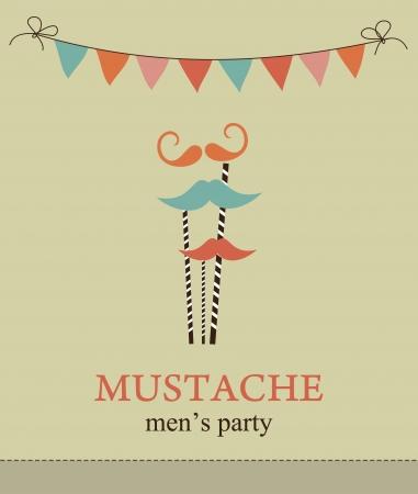 bash: mustache party card  illustration Illustration