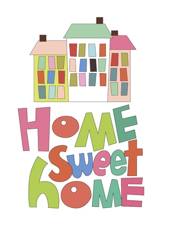 cartoon window: home sweet home card  illustration