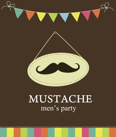 retro man: mustache party card  illustration Illustration