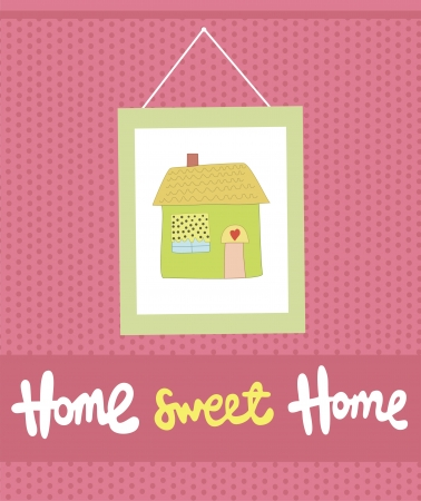 house illustration: home sweet home card  illustration