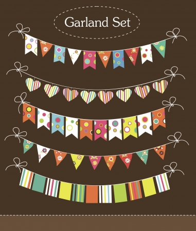 vintage garland collection  illustration Vector