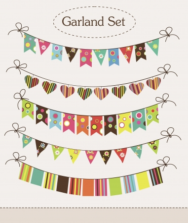 vintage garland collection  illustration