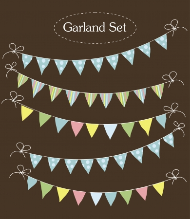 bunting flags: vintage garland collection  illustration