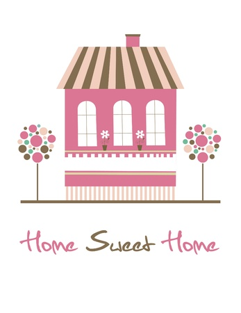 old home: home sweet home card illustration