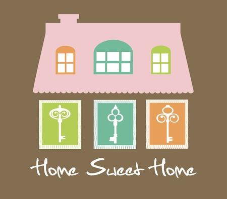 sweet shop: home sweet home card  vector illustration
