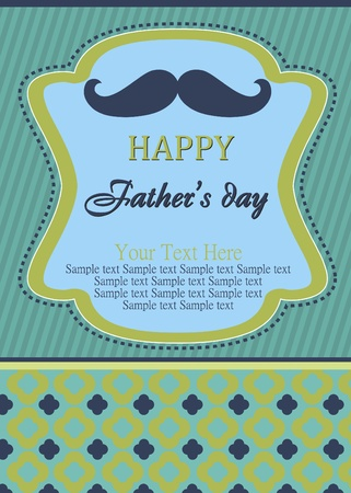 card with mustache  happy father s day  vector illustration