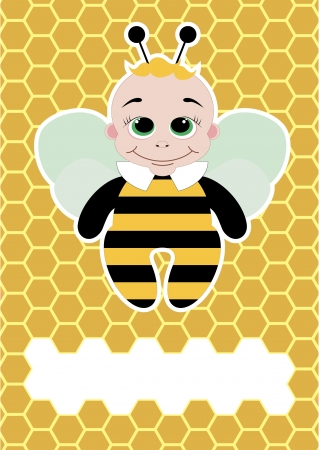 bee party: cute card with honey bee  vector illustration