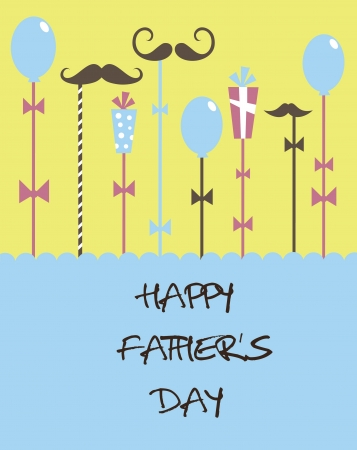 father s day: card with mustache  happy father s day  vector illustration
