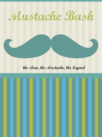 bash: card with mustache  happy father s day  vector illustration