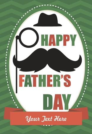 june: card with mustache  happy father s day  vector illustration