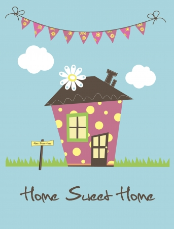 my home: home sweet home card  illustration