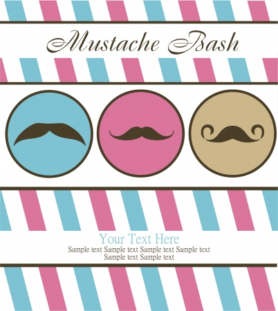 bash: card with mustache  vector illustration
