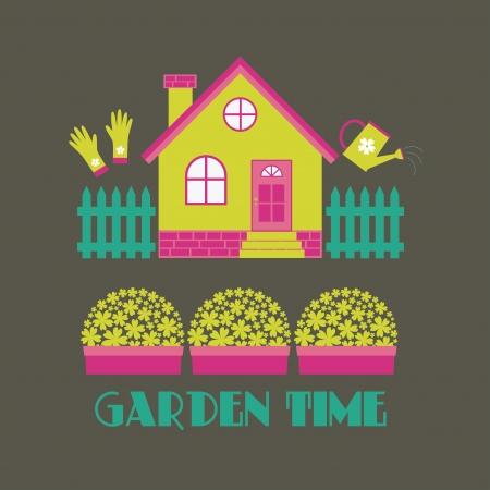 garden time card design illustration Vector