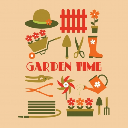 agronomy: garden time card design illustration