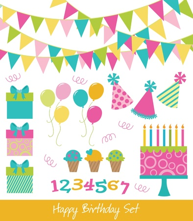 children party: happy birthday collection  illustration