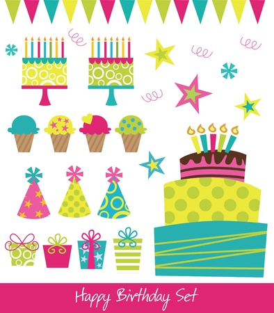 happy birthday collection  illustration