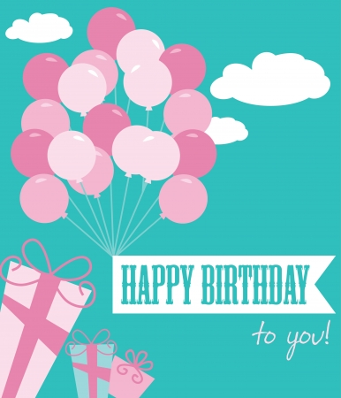 happy birthday greeting card  illustration