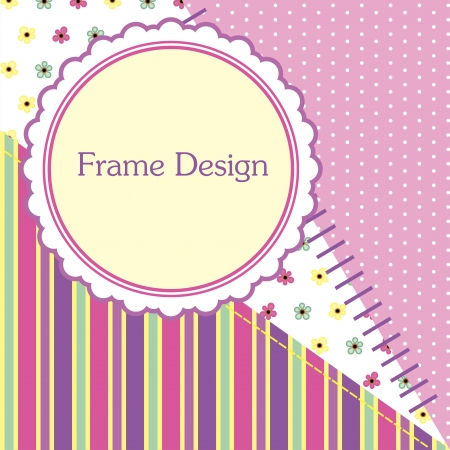 cute scrapbook frame design  illustration Vector