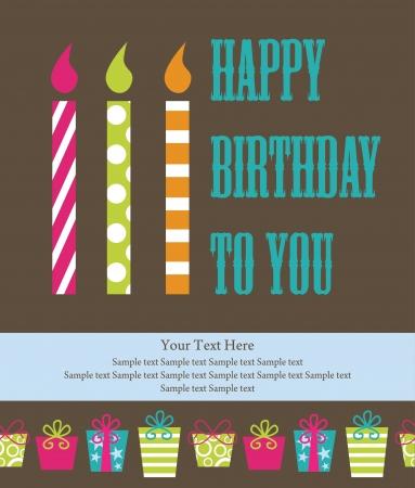 candles: happy birthday greeting card  illustration