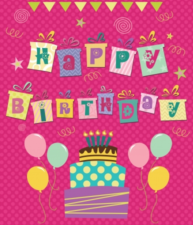 happy birthday greeting card  illustration Stock Vector - 20855084