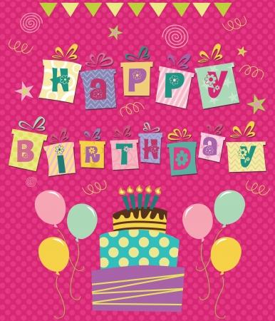 joyeux anniversaire carte de voeux illustration