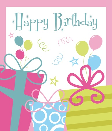 happy birthday greeting card  illustration