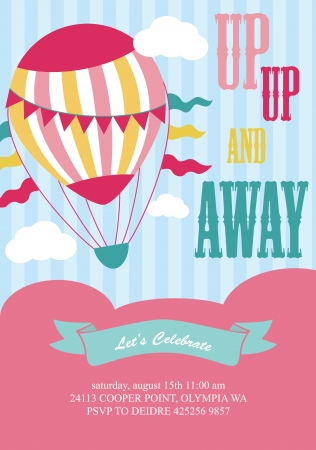 happy birthday air balloon card design  illustration Ilustração