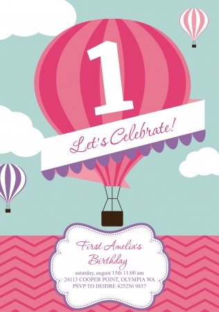 cover girls: happy birthday air balloon card design  Illustration