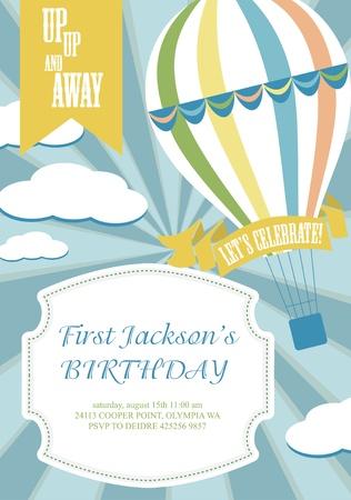 happy birthday air balloon card design