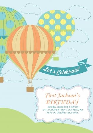 happy birthday air balloon card design  Illustration