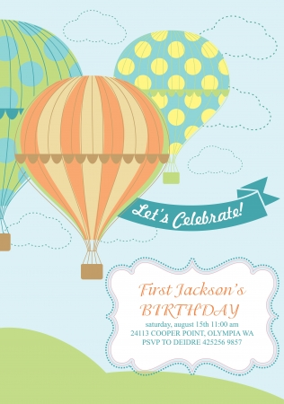 happy birthday air balloon card design  Vector