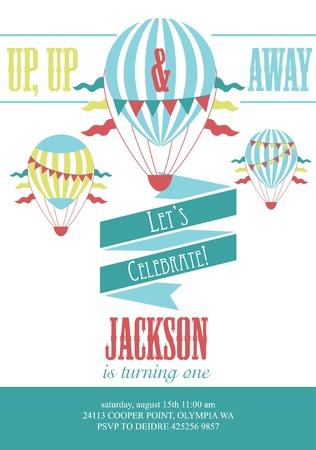 hot boy: happy birthday air balloon card design