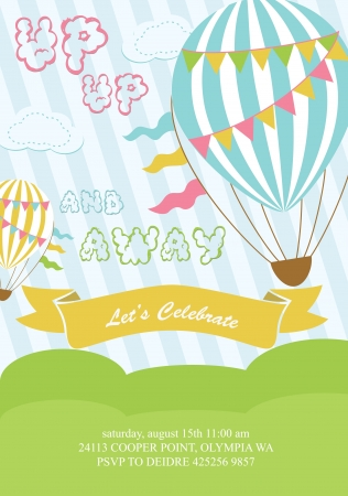 balloon border: happy birthday air balloon card design