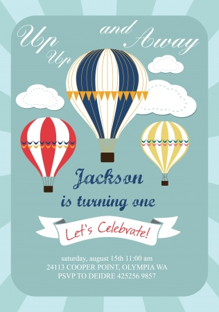 hot air balloon: happy birthday air balloon card design Illustration