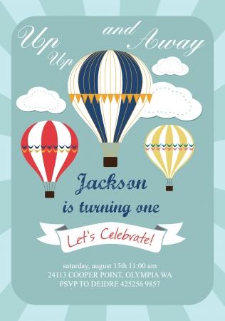 happy birthday ballon kaart ontwerp