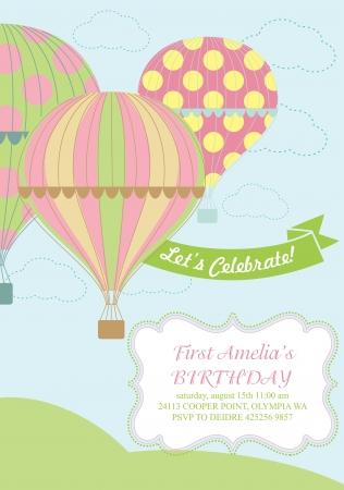 hot air balloon: happy birthday air balloon card design