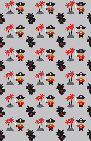 ahoy: seamless pirate pattern design. vector illustration Illustration
